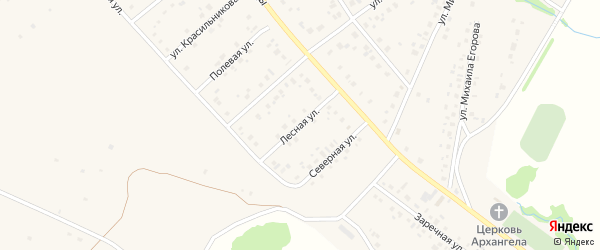 Лесная улица на карте села Шарана с номерами домов