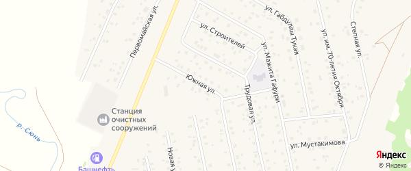 Южная улица на карте села Шарана с номерами домов