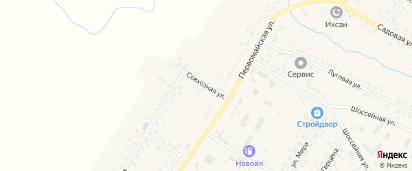 Совхозная улица на карте села Шарана с номерами домов