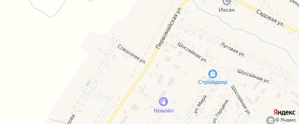 Первомайская улица на карте села Шарана с номерами домов