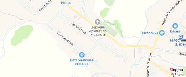 Заречная улица на карте села Шарана с номерами домов