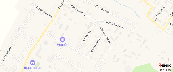 Улица Мира на карте села Шарана с номерами домов