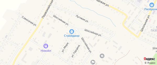 Шоссейная улица на карте села Шарана с номерами домов