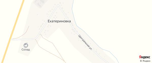 Центральная улица на карте деревни Екатериновки с номерами домов