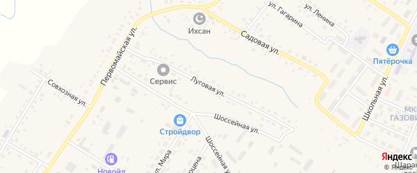 Луговая улица на карте села Шарана с номерами домов