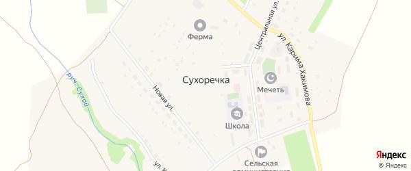 Центральная улица на карте села Сухоречки с номерами домов
