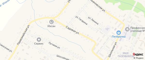 Садовая улица на карте села Шарана с номерами домов