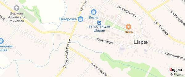 Красная улица на карте села Шарана с номерами домов