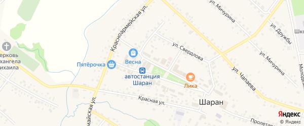 Центральная улица на карте села Шарана с номерами домов