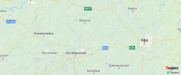 Карта Шаранского района республики Башкортостан с городами и населенными пунктами