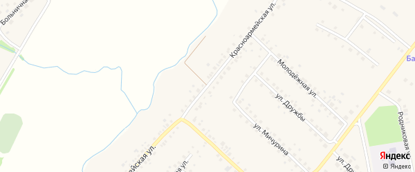 Красноармейская улица на карте села Шарана с номерами домов