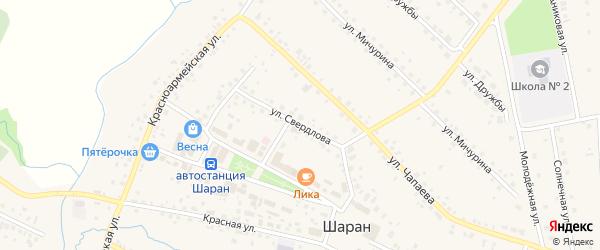 Улица Свердлова на карте села Шарана с номерами домов