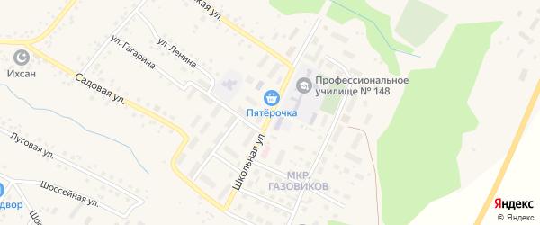 Школьная улица на карте села Шарана с номерами домов