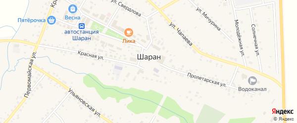 Зелёная улица на карте села Шарана с номерами домов