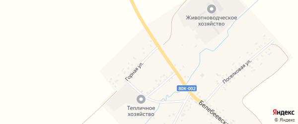 Горная улица на карте села Тукаево с номерами домов