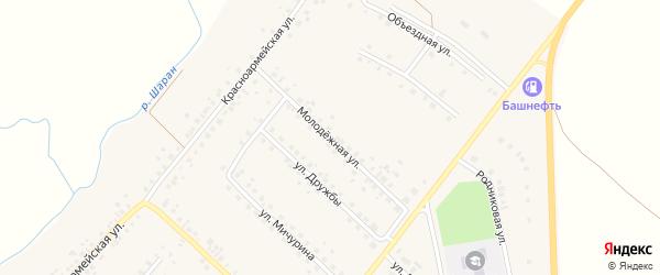 Молодежная улица на карте села Шарана с номерами домов