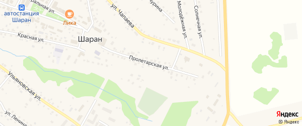 Пролетарская улица на карте села Шарана с номерами домов