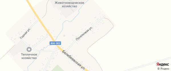 Поселковая улица на карте села Тукаево с номерами домов