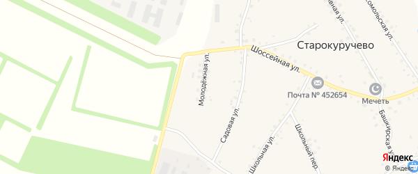 Молодежная улица на карте села Старокуручево с номерами домов