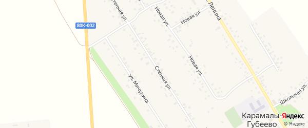 Степная улица на карте села Карамалы-Губеево с номерами домов