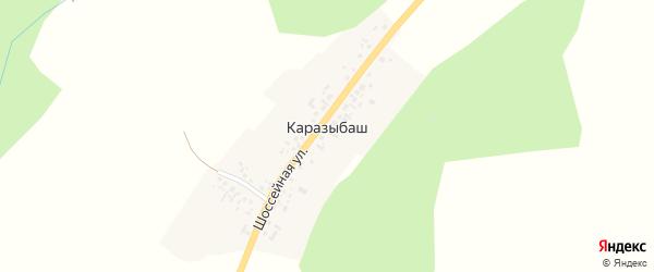 Шоссейная улица на карте деревни Каразыбаша с номерами домов