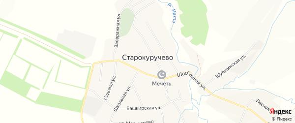 Карта села Старокуручево в Башкортостане с улицами и номерами домов