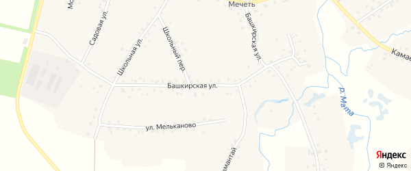 Башкирская улица на карте села Старокуручево с номерами домов