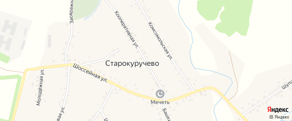 Кооперативная улица на карте села Старокуручево с номерами домов
