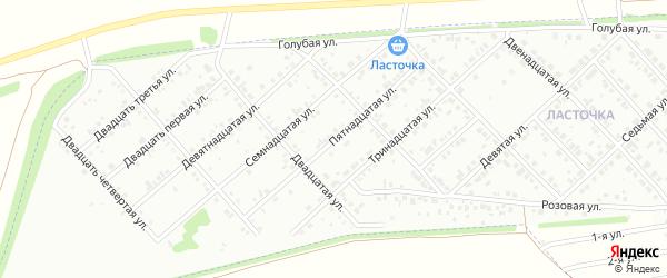 Пятнадцатая улица на карте района Ласточки с номерами домов