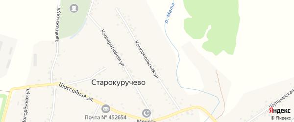 Комсомольская улица на карте села Старокуручево с номерами домов