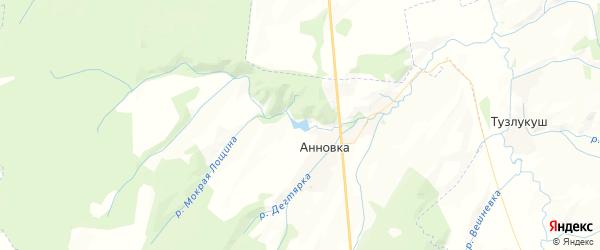 Карта Анновского сельсовета республики Башкортостан с районами, улицами и номерами домов