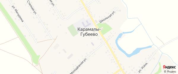 Больничный переулок на карте села Карамалы-Губеево с номерами домов