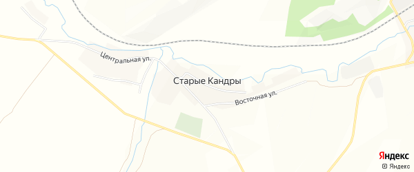 Карта села Старые Кандры в Башкортостане с улицами и номерами домов