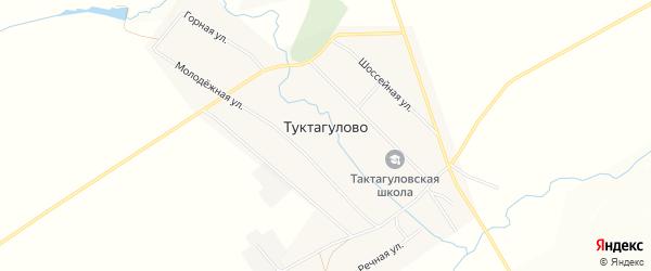 Карта села Туктагулово в Башкортостане с улицами и номерами домов