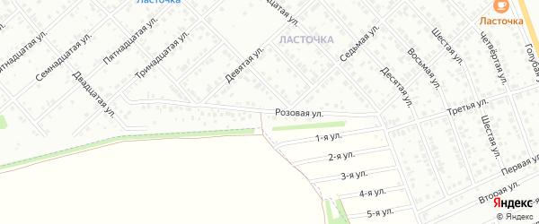 Розовая улица на карте района Ласточки с номерами домов
