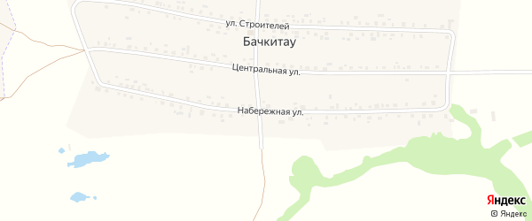Набережная улица на карте деревни Бачкитау с номерами домов