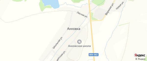 Карта села Анновки в Башкортостане с улицами и номерами домов