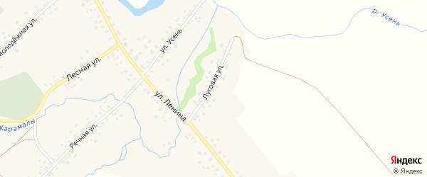 Луговая улица на карте села Карамалы-Губеево с номерами домов