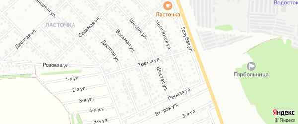 Третья улица на карте района Ласточки с номерами домов