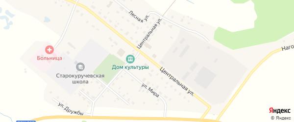 Центральная улица на карте села Старокуручево с номерами домов