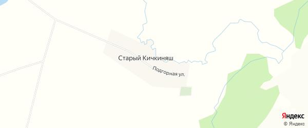 Карта деревни Старого Кичкиняша в Башкортостане с улицами и номерами домов
