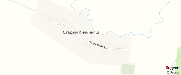 Подгорная улица на карте деревни Старого Кичкиняша с номерами домов