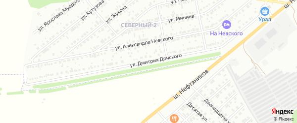 Улица Д.Донского на карте района Северного микрорайона с номерами домов