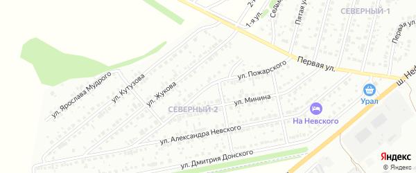 Улица Пожарского на карте района Северного микрорайона с номерами домов