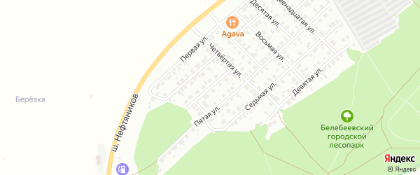 Одиннадцатая улица на карте Лесной района с номерами домов