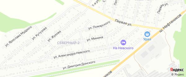 Улица Минина на карте района Северного микрорайона с номерами домов