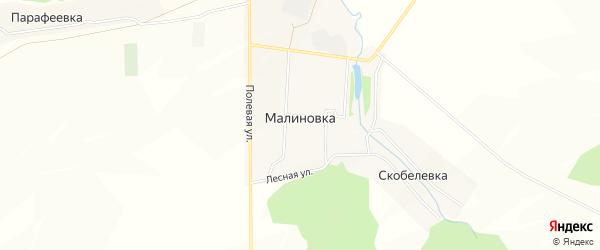 Карта деревни Малиновки в Башкортостане с улицами и номерами домов
