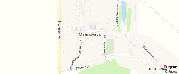 Улица Ленина на карте деревни Малиновки с номерами домов