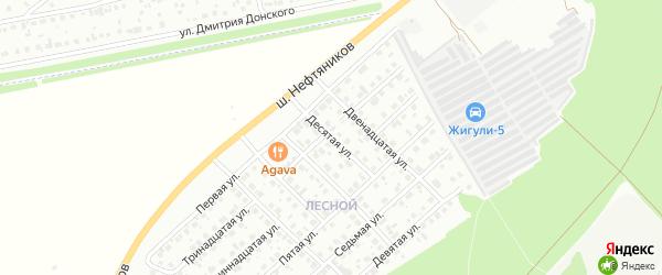 Десятая улица на карте района Чайковки микрорайона с номерами домов