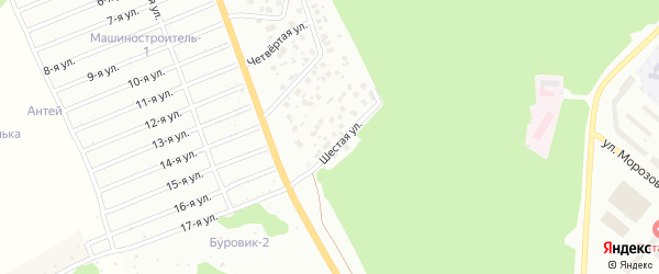 Шестая улица на карте района Полянки микрорайона с номерами домов
